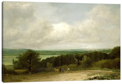Wooded Landscape with a ploughman Canvas Art Print