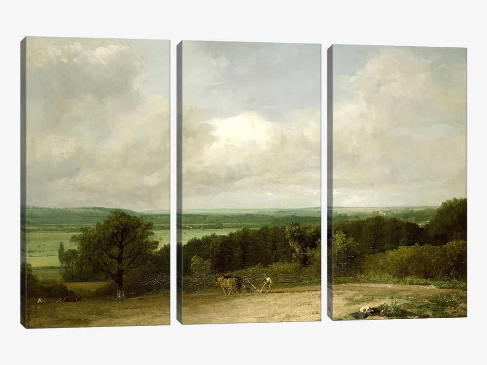 Wooded Landscape with a ploughman by John Constable 3-piece Canvas Art Print