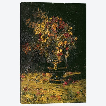 Vase of Flowers Canvas Print #BMN4587} by Adolphe Joseph Thomas Monticelli Canvas Art