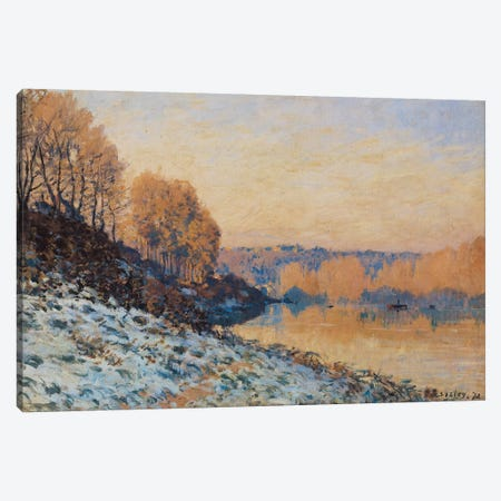 Port-Marly, White Frost, 1872  3-Piece Canvas #BMN458} by Alfred Sisley Canvas Print
