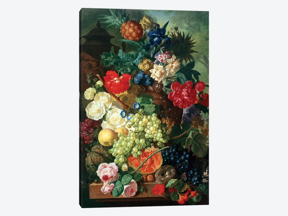 Mixed Flowers and Pineapples in an Urn with a Bird's Nest and a Cat by Jan van Os 1-piece Canvas Print