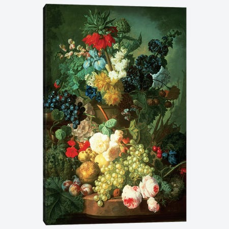 Still Life Mixed Flowers and Fruit with Bird's Nest Canvas Print #BMN4595} by Jan van Os Art Print