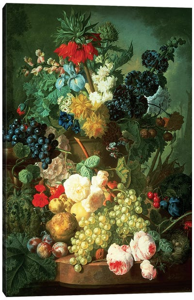 Still Life Mixed Flowers and Fruit with Bird's Nest Canvas Art Print
