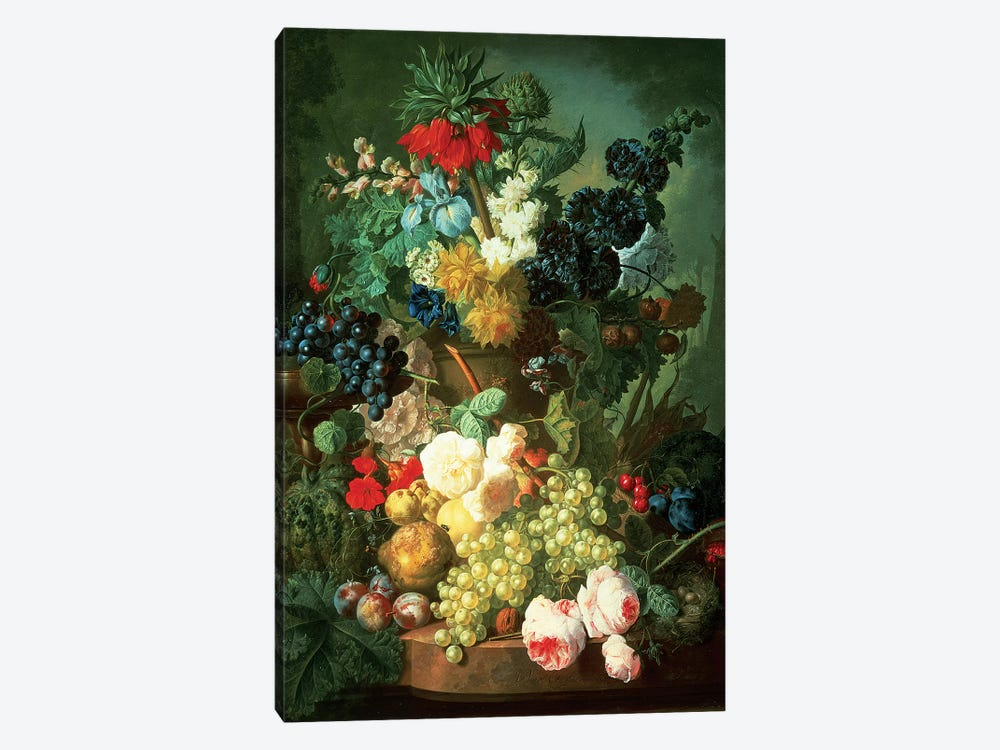 Still Life Mixed Flowers and Fruit with Bird's Nest by Jan van Os 1-piece Canvas Print