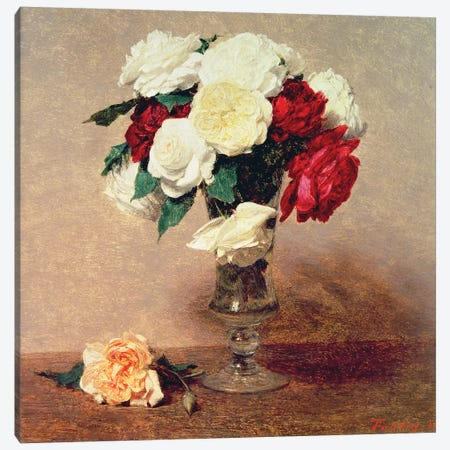 Roses in a Vase with Stem Canvas Print #BMN4596} by Ignace Henri Jean Theodore Fantin-Latour Canvas Print