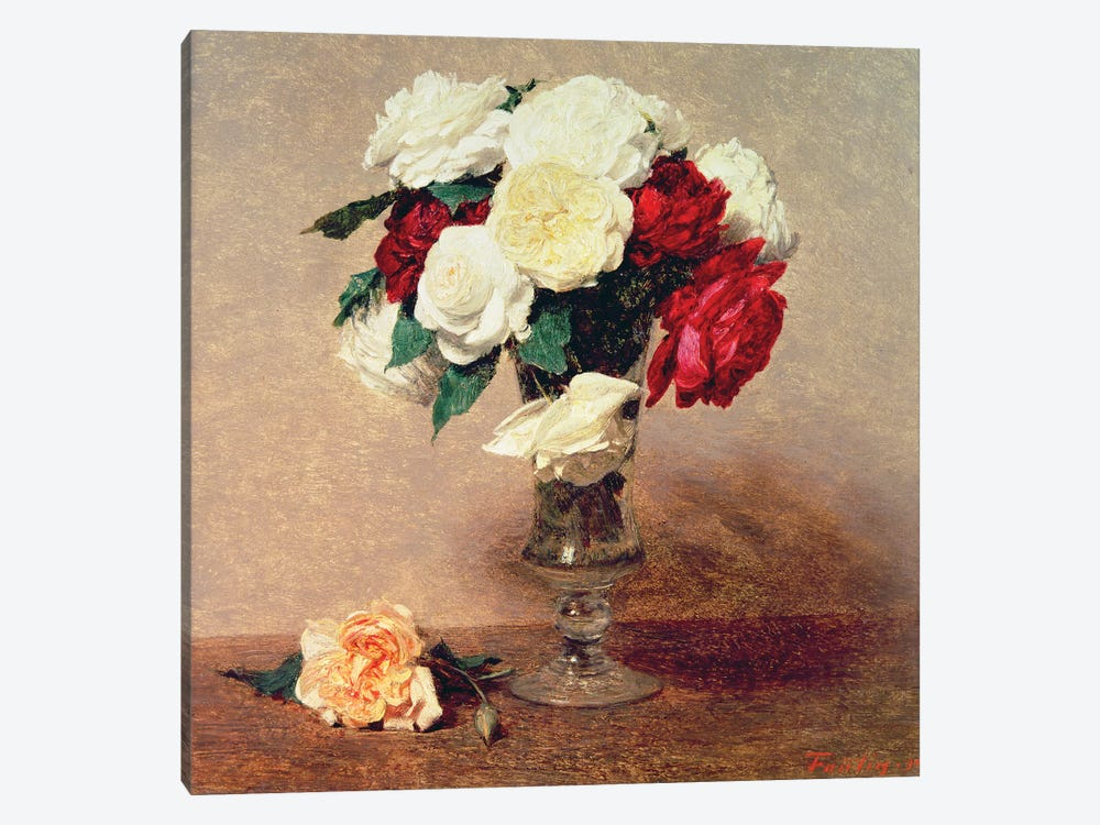 Roses in a Vase with Stem by Ignace Henri Jean Theodore Fantin-Latour 1-piece Canvas Wall Art