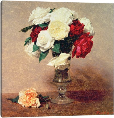 Roses in a Vase with Stem Canvas Art Print