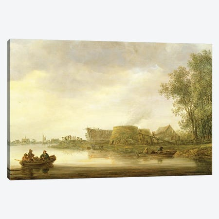 Lime Kilns in a River Landscape Canvas Print #BMN4598} by Jan Josephsz. van Goyen Canvas Art