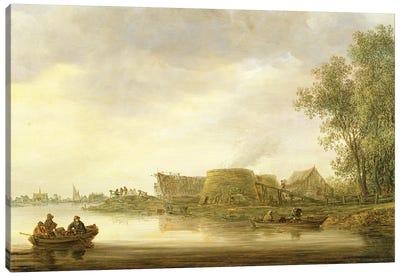 Lime Kilns in a River Landscape Canvas Art Print