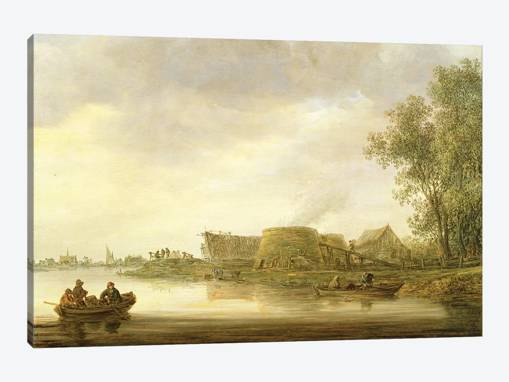 Lime Kilns in a River Landscape by Jan Josephsz. van Goyen 1-piece Canvas Art