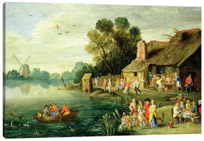 River Landscape with Gentry at a Village Inn Canvas Art Print