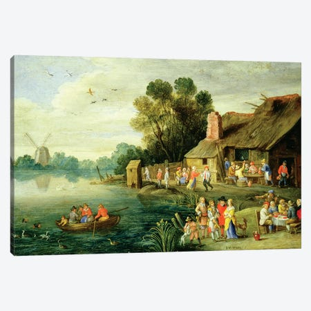 River Landscape with Gentry at a Village Inn Canvas Print #BMN4599} by Jan van Kessel Canvas Artwork