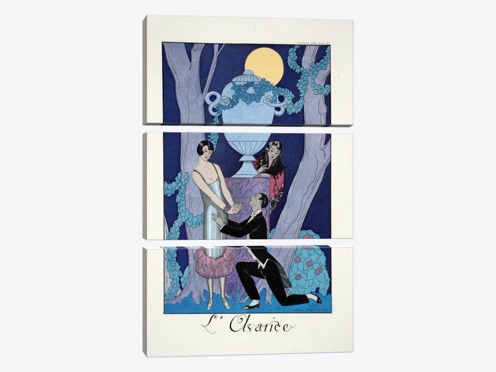 Avarice, from 'Falbalas & Fanfreluches, Almanach des Modes Présentes by George Barbier 3-piece Canvas Art Print