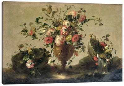 Mixed Flowers in a Gilt Goblet Canvas Art Print