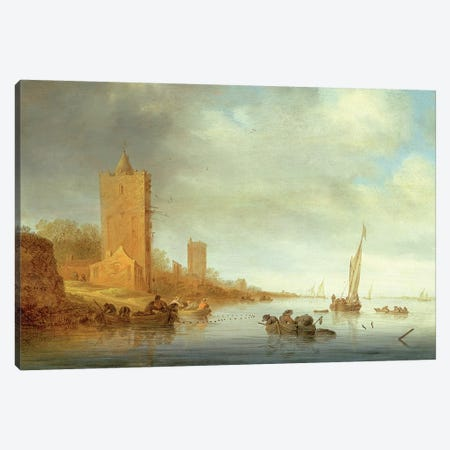 River Landscape with Fishermen at Work Canvas Print #BMN4603} by Salomon van Ruysdael Canvas Artwork