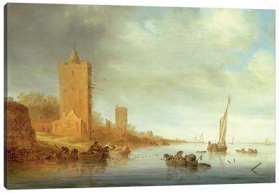 River Landscape with Fishermen at Work Canvas Art Print