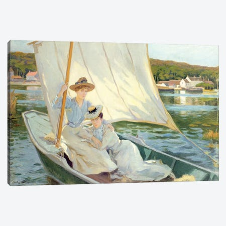 Ladies in a Sailing Boat Canvas Print #BMN4605} by Jules Cayron Canvas Art Print