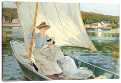 Ladies in a Sailing Boat Canvas Art Print