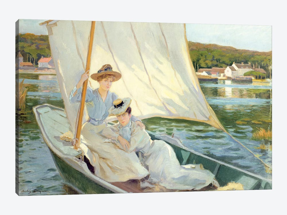 Ladies in a Sailing Boat by Jules Cayron 1-piece Canvas Artwork