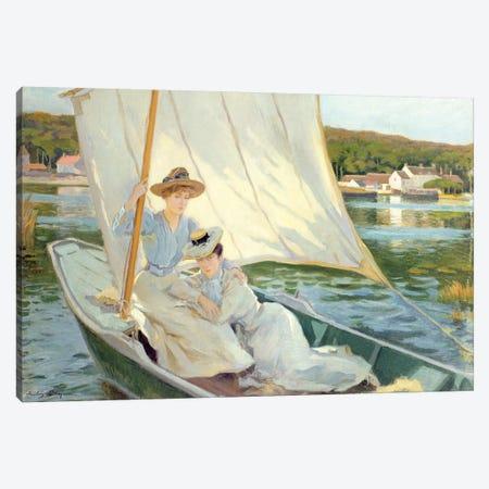 Ladies in a Sailing Boat Canvas Print #BMN4605} by Jules Cayron Canvas Art Print
