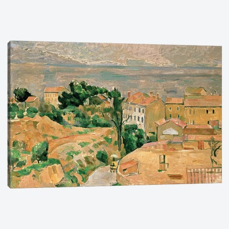 View of L'Estaque Canvas Print #BMN4607} by Paul Cezanne Canvas Art Print