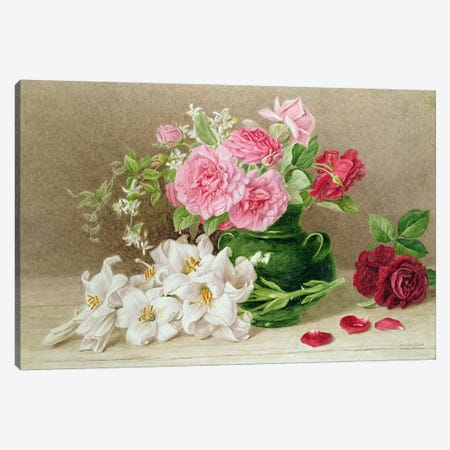 Roses and Lilies  Canvas Print #BMN460} by Mary Elizabeth Duffield Canvas Art