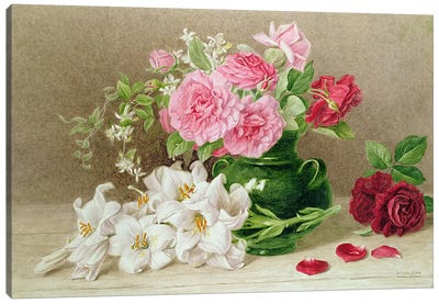 Roses and Lilies  Canvas Art Print