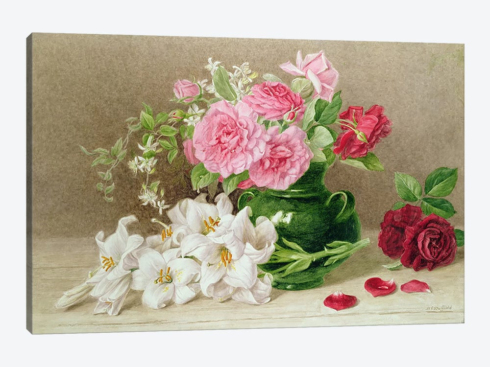 Roses and Lilies  by Mary Elizabeth Duffield 1-piece Canvas Artwork