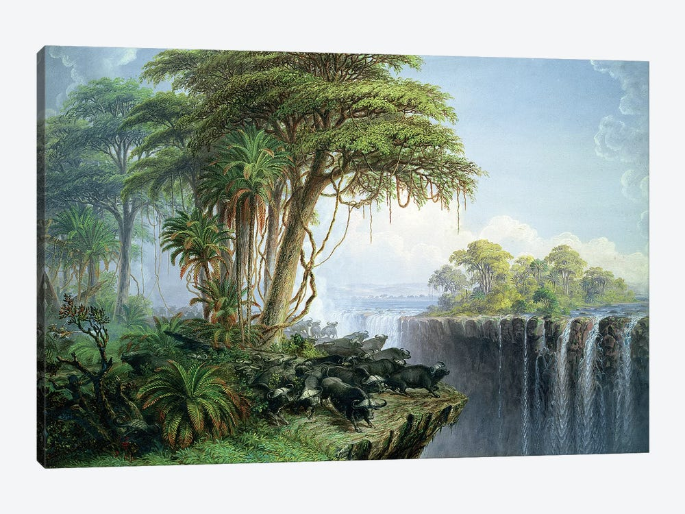 Buffalos Driven to the Edge of the Chasm opposite Garden Island, Victoria Falls by Thomas Baines 1-piece Canvas Artwork