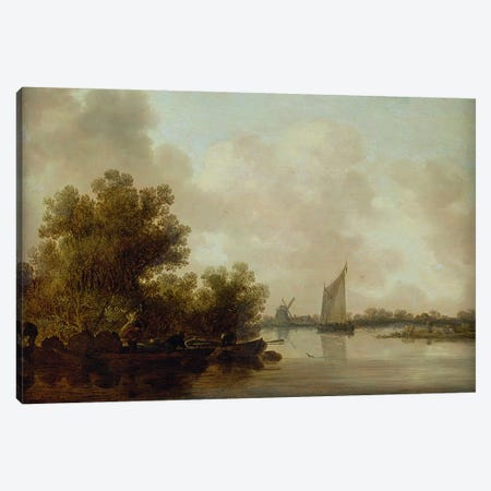 Wooded River Landscape with Fishermen Canvas Print #BMN4612} by Jan Josephsz. van Goyen Art Print