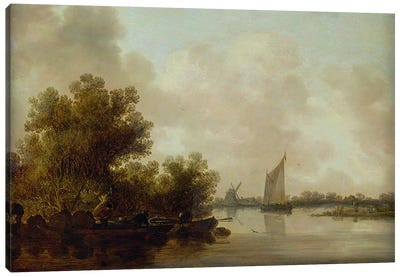 Wooded River Landscape with Fishermen Canvas Art Print