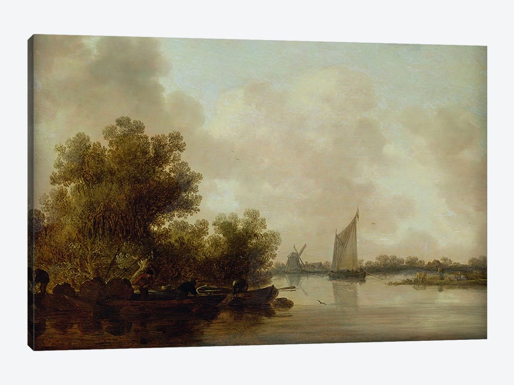 Wooded River Landscape with Fishermen by Jan Josephsz. van Goyen 1-piece Canvas Artwork