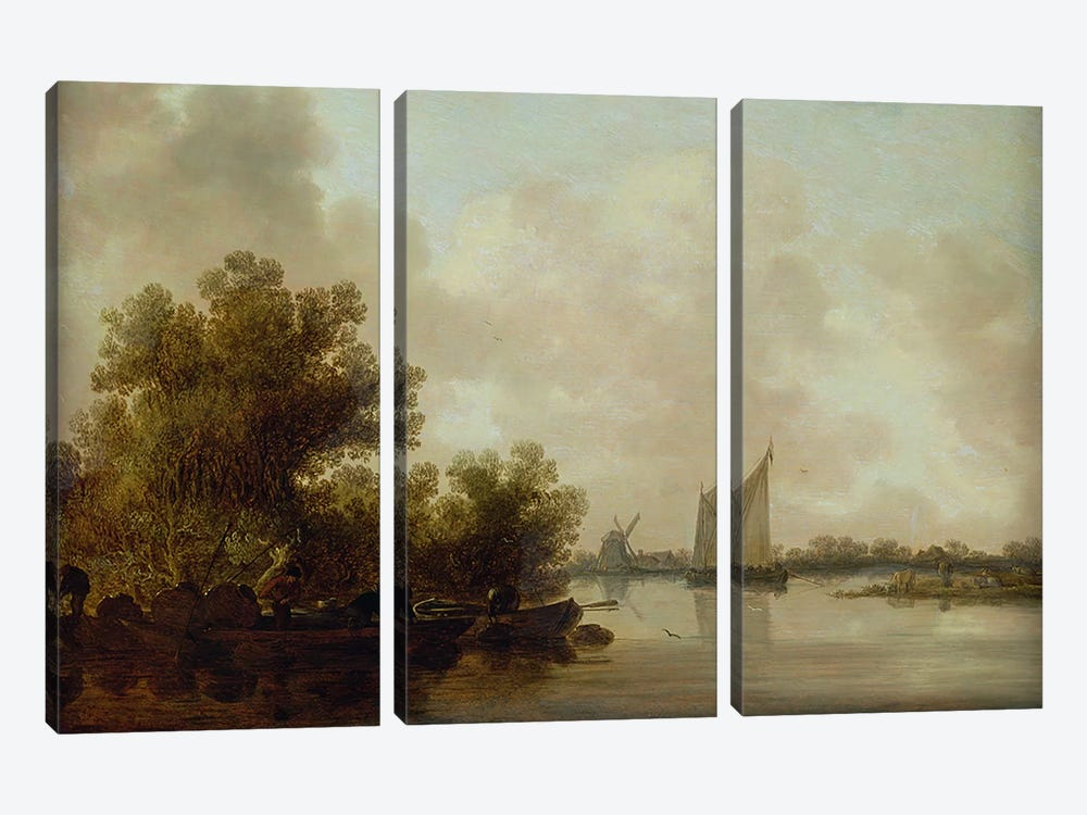 Wooded River Landscape with Fishermen by Jan Josephsz. van Goyen 3-piece Canvas Wall Art