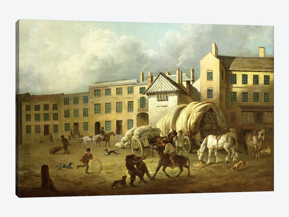 A Town Scene by George Garrard 1-piece Canvas Artwork
