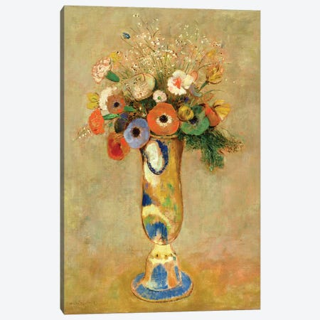 Flowers in a Painted Vase Canvas Print #BMN4620} by Odilon Redon Canvas Artwork