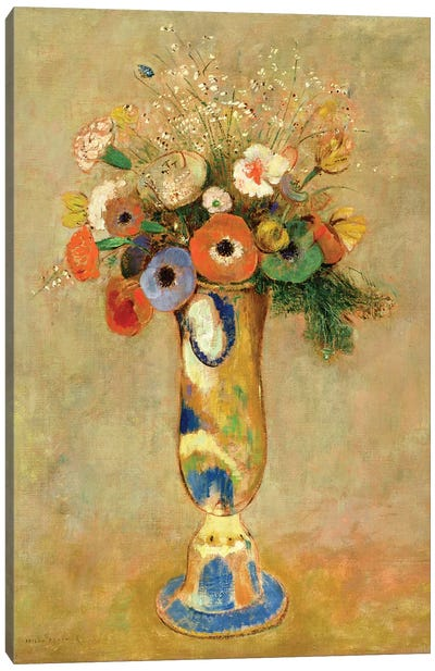 Flowers in a Painted Vase Canvas Art Print