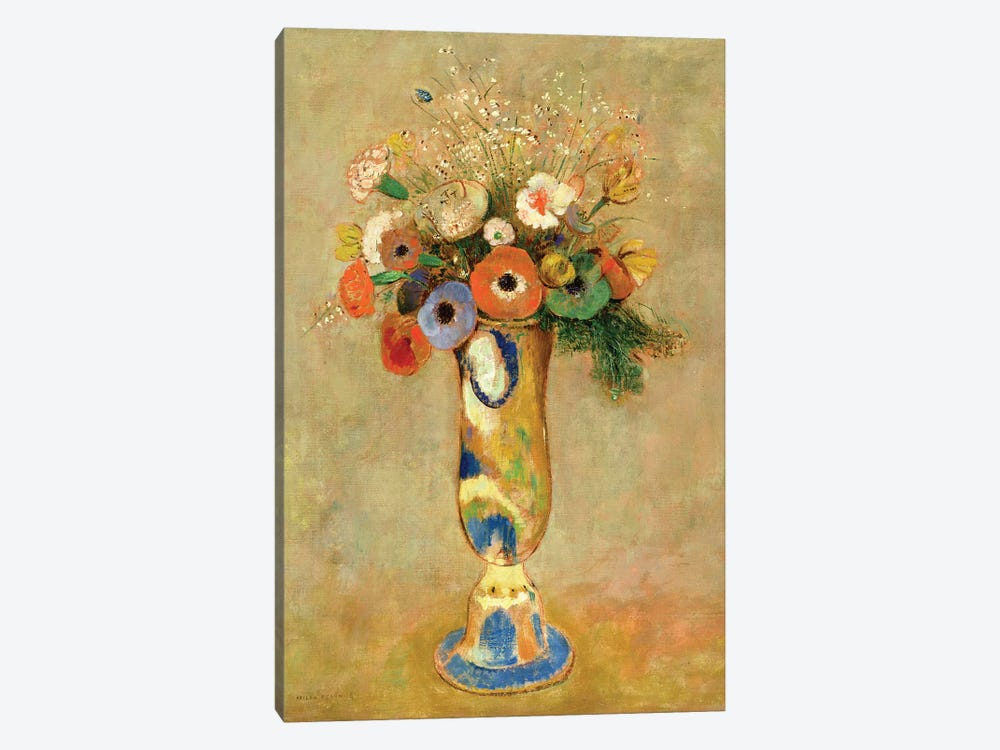 Flowers in a Painted Vase by Odilon Redon 1-piece Canvas Print