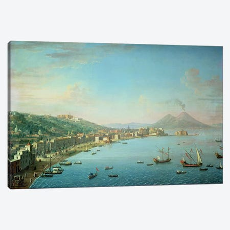 Naples from the Bay, with Mt. Vesuvius in the Background  Canvas Print #BMN4622} by Antonio Joli Canvas Wall Art