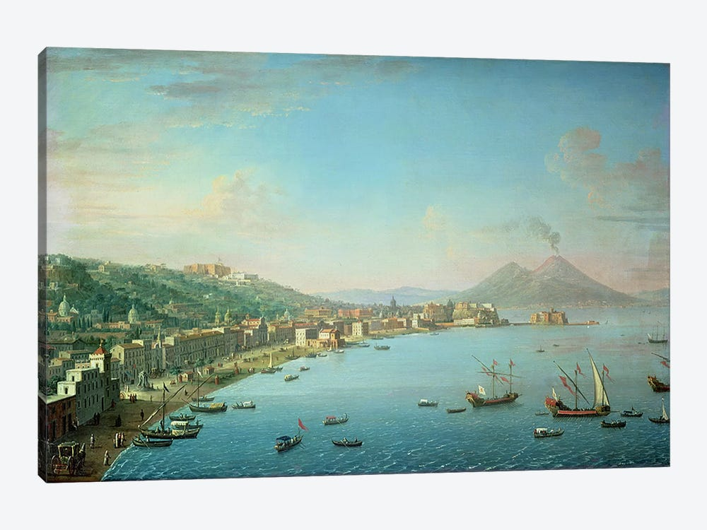 Naples from the Bay, with Mt. Vesuvius in the Background by Antonio Joli 1-piece Canvas Print