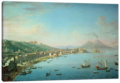 Naples from the Bay, with Mt. Vesuvius in the Background  Canvas Art Print