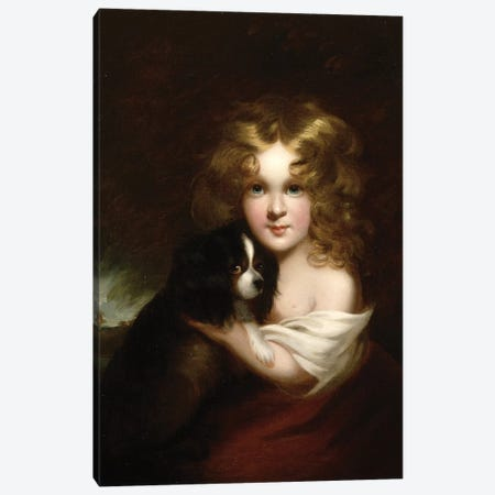 Young Girl with a Dog, c.1840 Canvas Print #BMN4623} by Margaret Sarah Carpenter Canvas Art