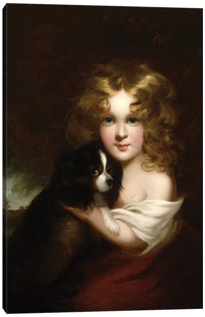 Young Girl with a Dog, c.1840 Canvas Art Print