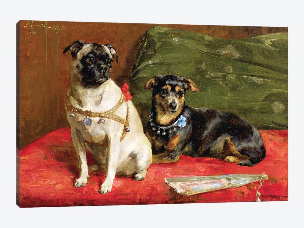 Pierette and Mifs, 1892 by Charles van den Eycken 1-piece Canvas Art Print