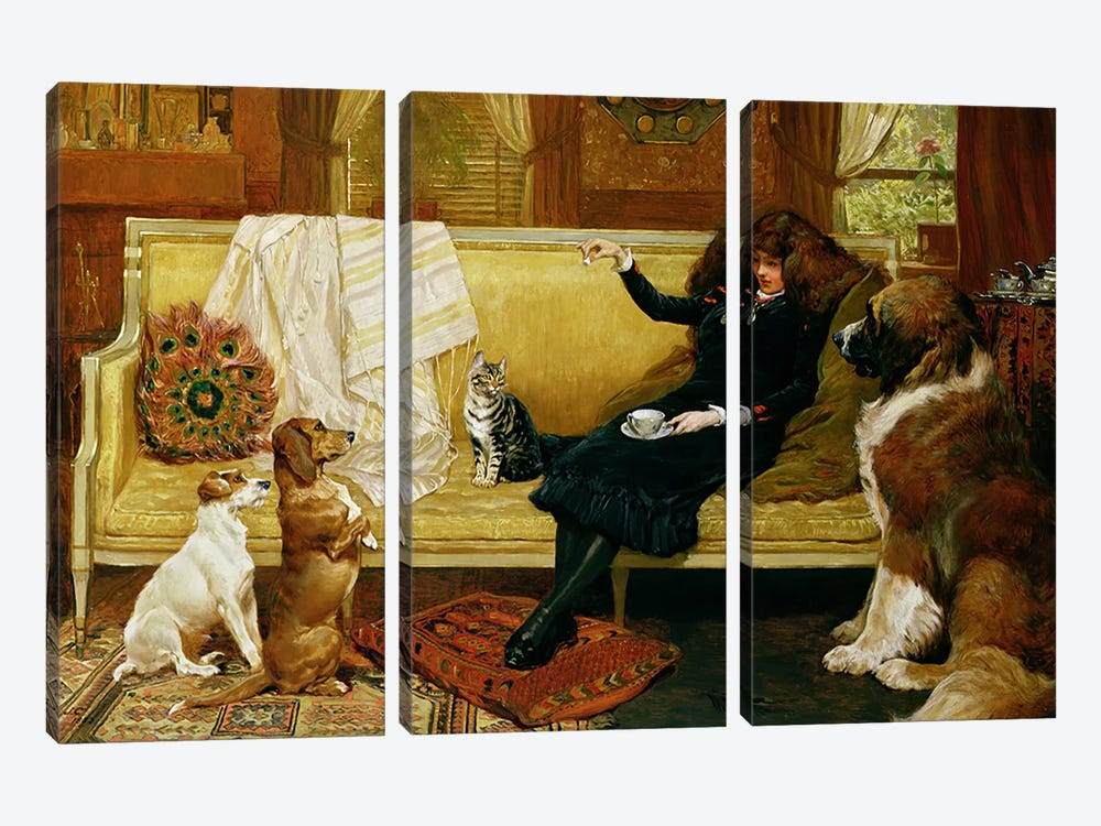 Teatime Treat, 1883 by John Charlton 3-piece Canvas Art