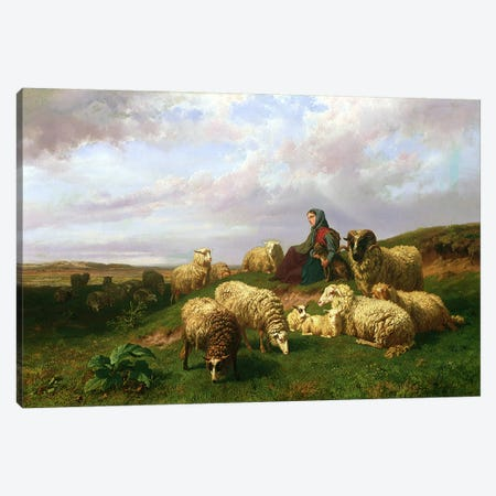 Shepherdess resting with her flock, 1867 Canvas Print #BMN4627} by Edmond Jean-Baptiste Tschaggeny Canvas Art Print