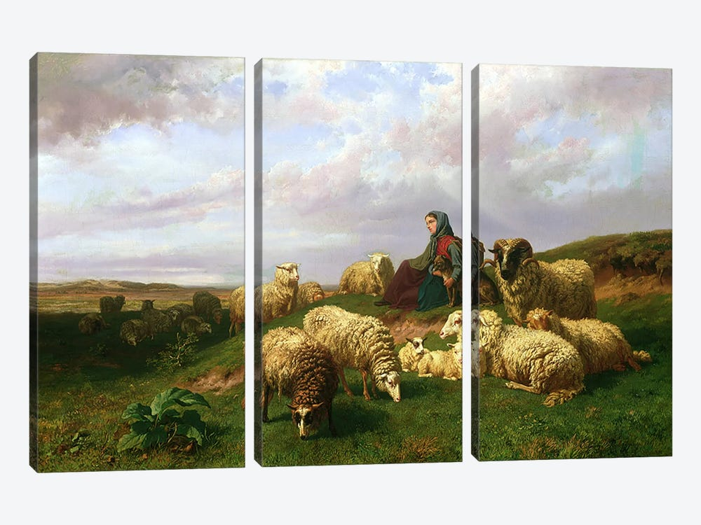 Shepherdess resting with her flock, 1867 3-piece Canvas Art