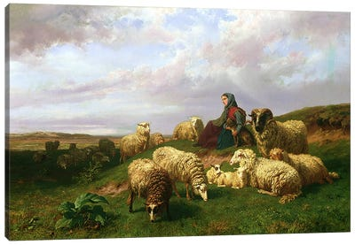 Shepherdess resting with her flock, 1867 Canvas Art Print
