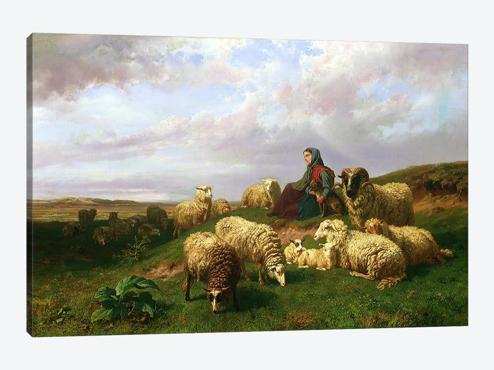 Shepherdess resting with her flock, 1867 by Edmond Jean-Baptiste Tschaggeny 1-piece Canvas Artwork