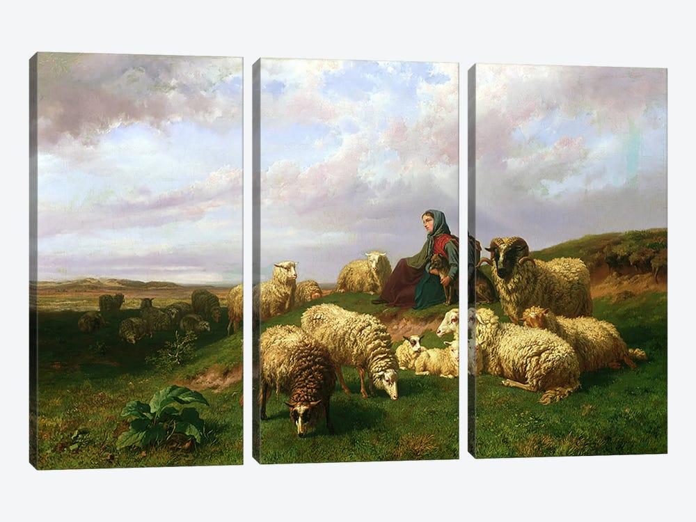 Shepherdess resting with her flock, 1867 by Edmond Jean-Baptiste Tschaggeny 3-piece Canvas Art