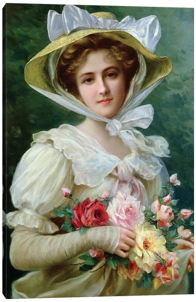 Elegant lady with a bouquet of roses Canvas Art Print